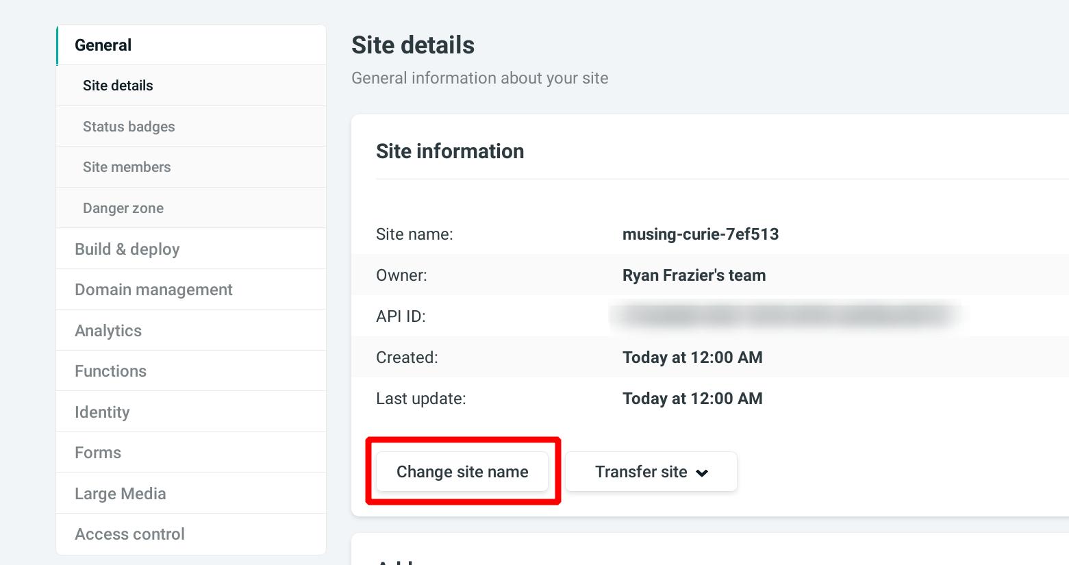 Change Netlify sub domain name